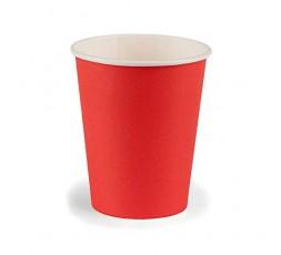 JMG Gobelets en Carton - Couleur Rouge - Gobelets Jetables Souples et Solides - Format 200 ml - Lot de 12 Gobelets Carton