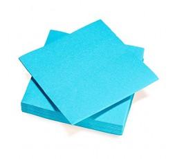 Le Nappage - Serviettes Papier Tex Touch - Bleu Turquoise - Serviettes Certifiées FSC® - Recyclables et Biodégradables - Lot de