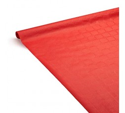 LE NAPPAGE - Nappe de Table en Papier Damassé Rouge - Nappe Déperlante - Recyclable et Biodégradable - Nappe Papier Rouge en Rou
