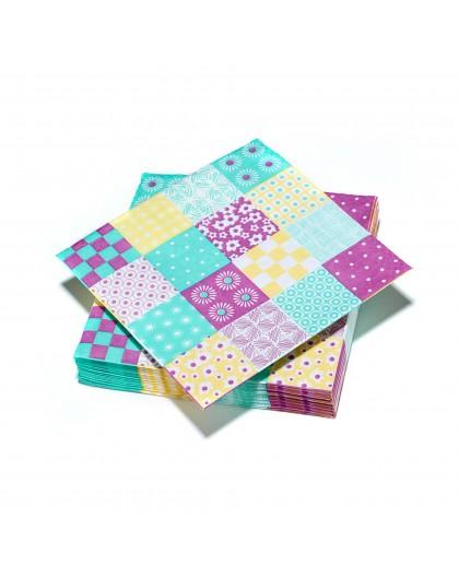 20 serviettes 33x33cm 3 plis Damier