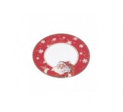 Assiettes en Carton Recyclé Décoré Santa Claus - Diamètre 23 cm - Lot de 20 Assiettes Jetables en Carton Rigide