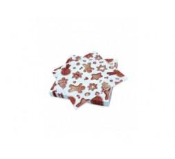 Serviettes de table Décorées Délices de Noël - Décor Biscuit sablés Noël - Lot de 20 Serviettes Format 33 x 33 cm
