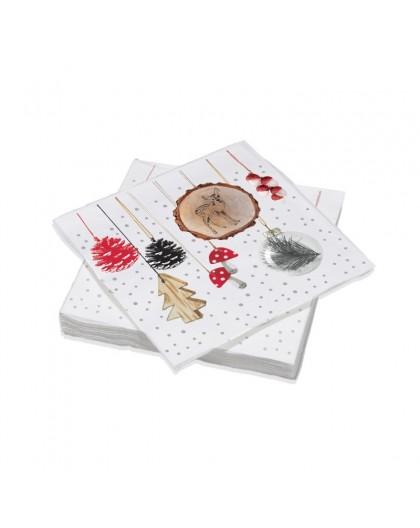 Serviettes de table Décorées Suspension de pin - Décor traditionnel Noël - Lot de 20 Serviettes Format 40 x 40 cm