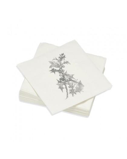 Serviettes de table Décorées Botanic - Décoration Noël Nature - Lot de 20 Petites Serviettes Format apéritif 25 x 25 cm