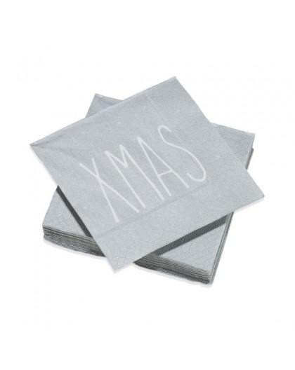 Serviettes de table Décorées XMAS Argent - Décoration texte message Noël - 20 Petites Serviettes Format apéritif 25 x 25 cm