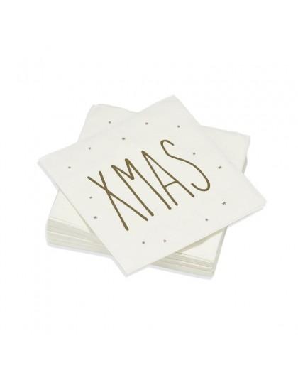 Serviettes de table Décorées XMAS Or - Décoration texte message Noël - Lot de 20 Petites Serviettes Format apéritif 25 x 25 cm