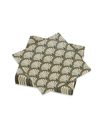 Serviettes de table Décorées Peacock Or/Bleu - Décoration rétro paon - Lot de 20 Petites Serviettes Format apéritif 25 x 25 cm