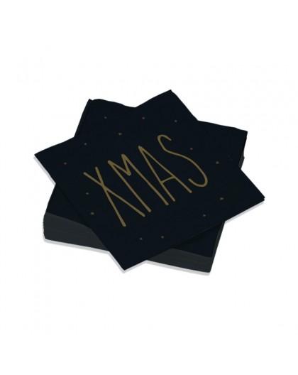 Serviettes de table Décorées XMAS Noir - Décoration texte message Noël - Lot de 20 Petites Serviettes Format apéritif 25x25 cm