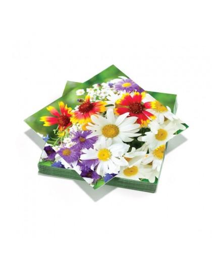 20 serviettes 33x33cm 3 plis Bouquet