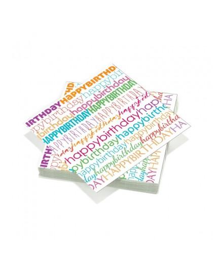 20 serviettes 33x33cm 3 plis Birthday Letter