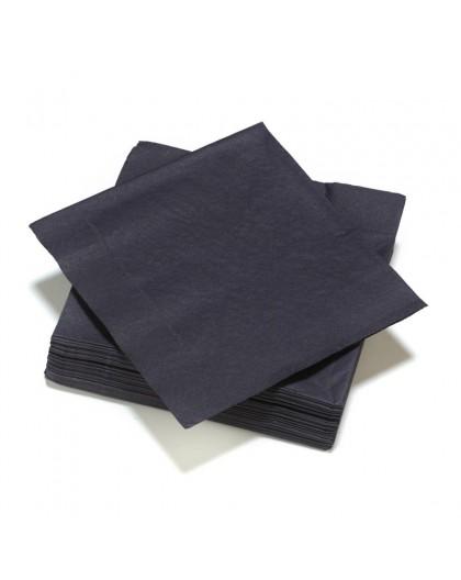50 Serviettes en ouate 40x40cm 3plis Noir
