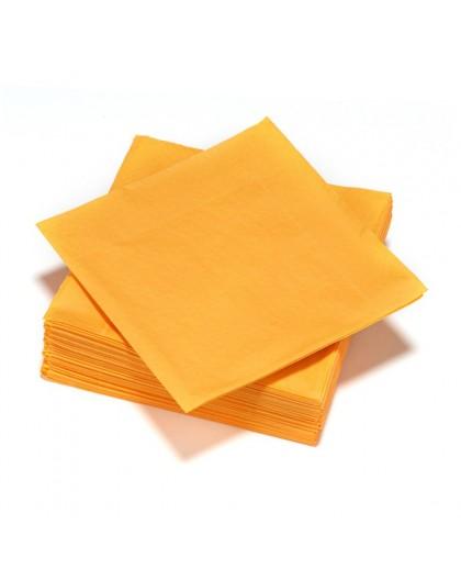 50 Serviettes en ouate 40x40cm 3plis Mandarine