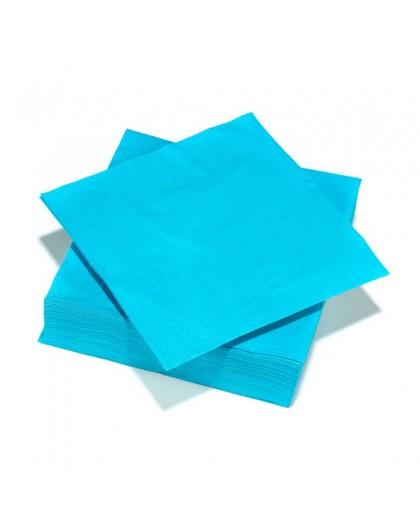 50 Serviettes en ouate 40x40cm 3plis Turquoise